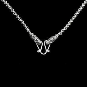 Slim Silver Anchor Chain Pendant Necklace with Gotland Dragon Heads