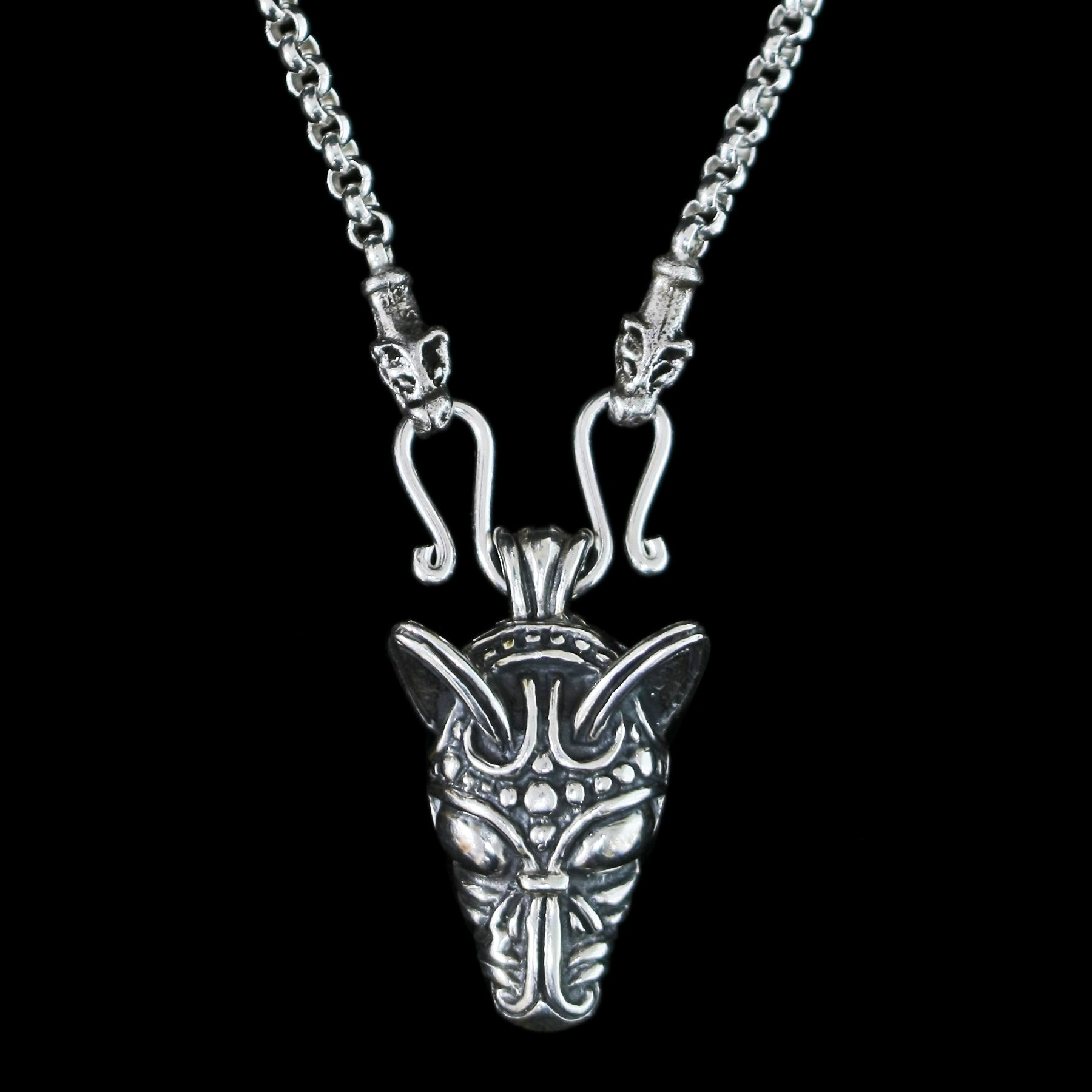 Sterling Silver Anchor Chain Viking Necklace with Icelandic Wolf Heads and Wolf Pendant - Viking Jewelry