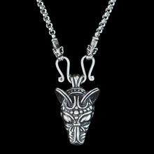 Load image into Gallery viewer, Sterling Silver Anchor Chain Viking Necklace with Icelandic Wolf Heads and Wolf Pendant - Viking Jewelry
