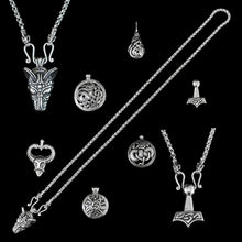 Load image into Gallery viewer, Sterling Silver Anchor Chain Viking Necklace with Icelandic Wolf Heads with a Choice of Pendants