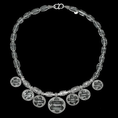 7 Lens Rock Crystal & Silver Necklace from Gotland
