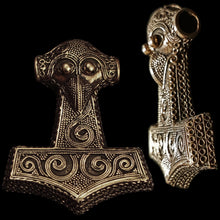 Load image into Gallery viewer, Large Bronze Filigree Thors Hammer Pendant Replica from Kabara