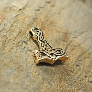 Medium Bronze Interlace Thors Hammer Pendant on Rock