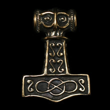 Load image into Gallery viewer, Bronze Thunder Thors Hammer - Viking Jewelry