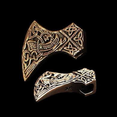 Bronze Knotwork Axe Head Pendant - Viking Pendants