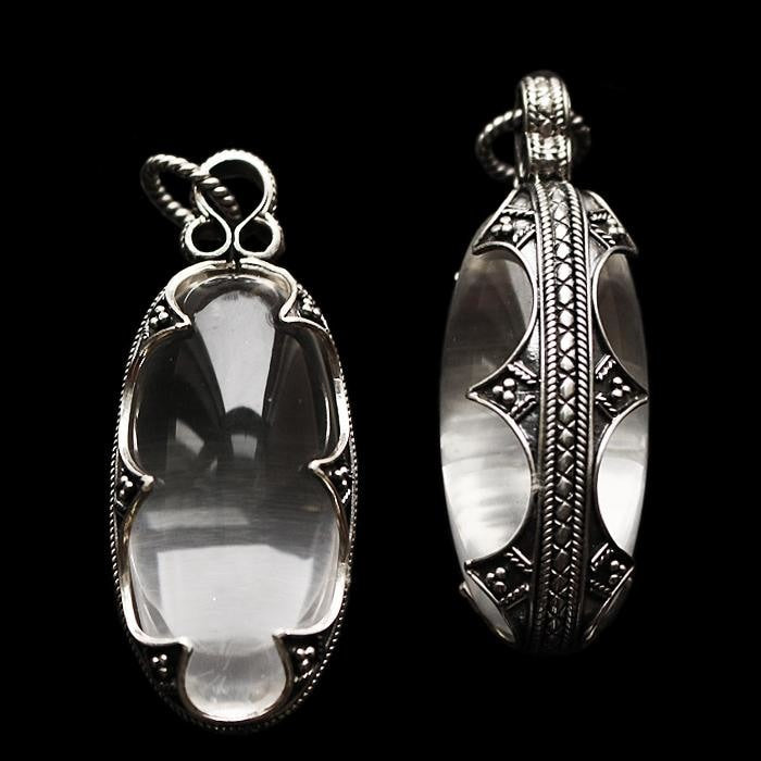 Large Gotlandic crystal oval pendant with silver filigree casing - Viking Pendants
