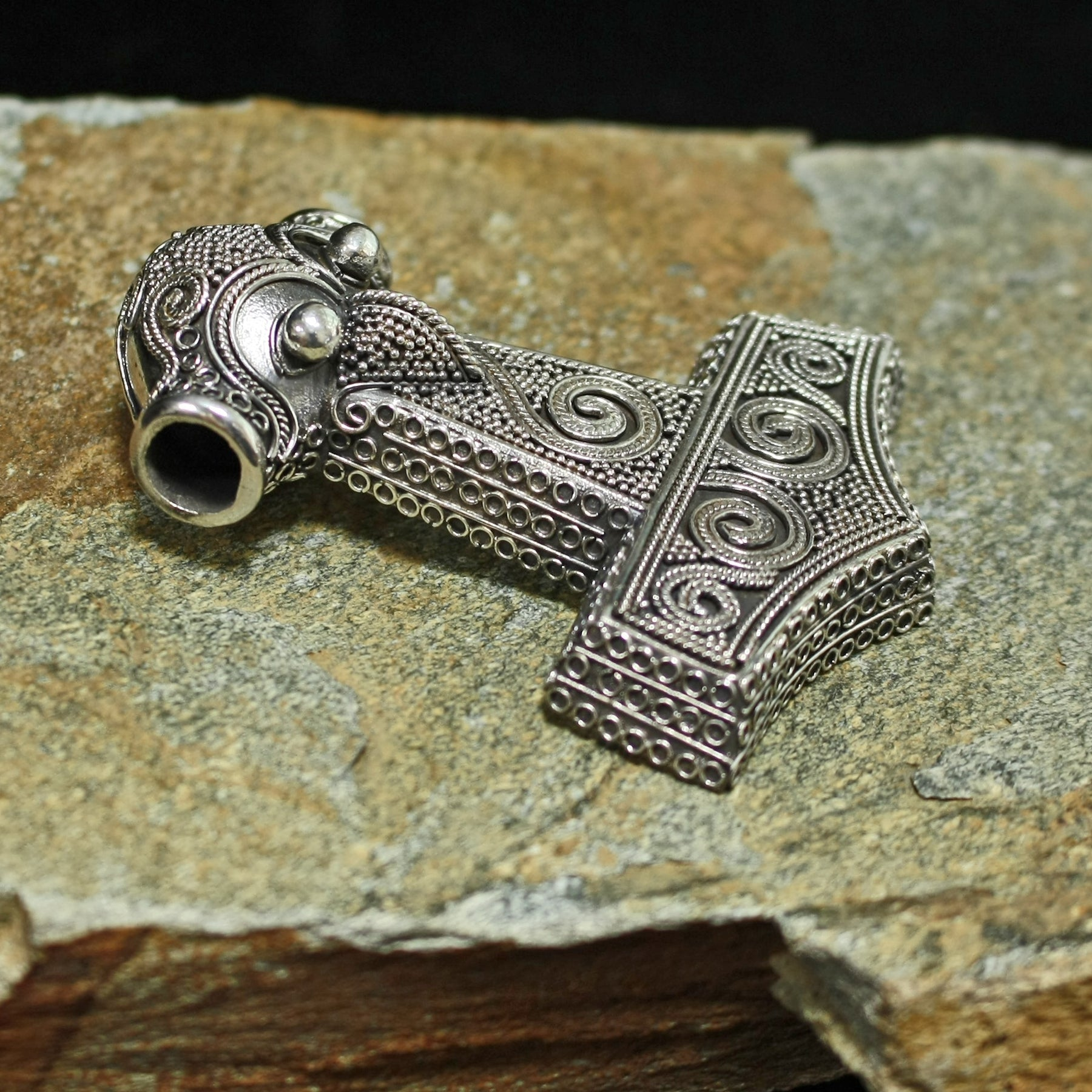 Large Silver Filigree Thor's Hammer from Kabara - Side View - Viking Jewelry