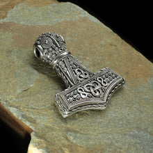 Load image into Gallery viewer, Large Silver Filigree Thors Hammer Pendant Replica from Öland on Rock