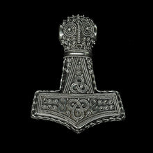 Load image into Gallery viewer, Large Silver Filigree Thors Hammer Pendant Replica from Öland