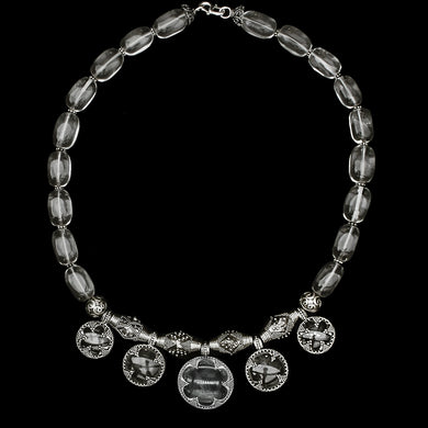 5 Lens Rock Crystal & Silver Necklace from Gotland