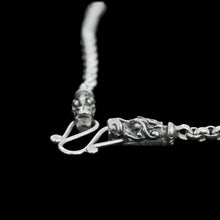 Load image into Gallery viewer, Slim Silver Anchor Chain Pendant Necklace with Gotland Dragon Heads Close Up