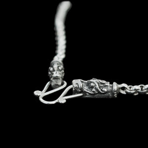 Slim Silver Anchor Chain Pendant Necklace with Gotland Dragon Heads Close Up