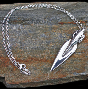 Silver Bear Spear Pendant on Rock - Viking Jewelry