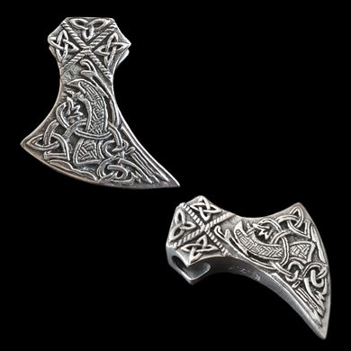 Silver Knotwork Viking Axe Head Pendant - Viking Jewelry