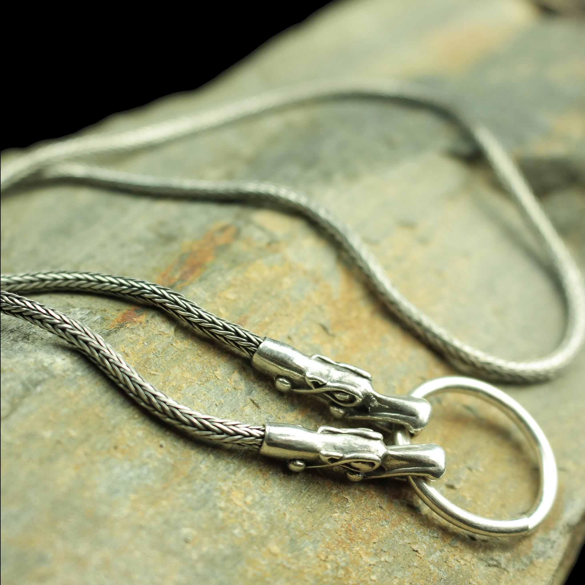 Customisable Slim Silver Snake Chain Pendant Necklace with Tromso Dragon Heads