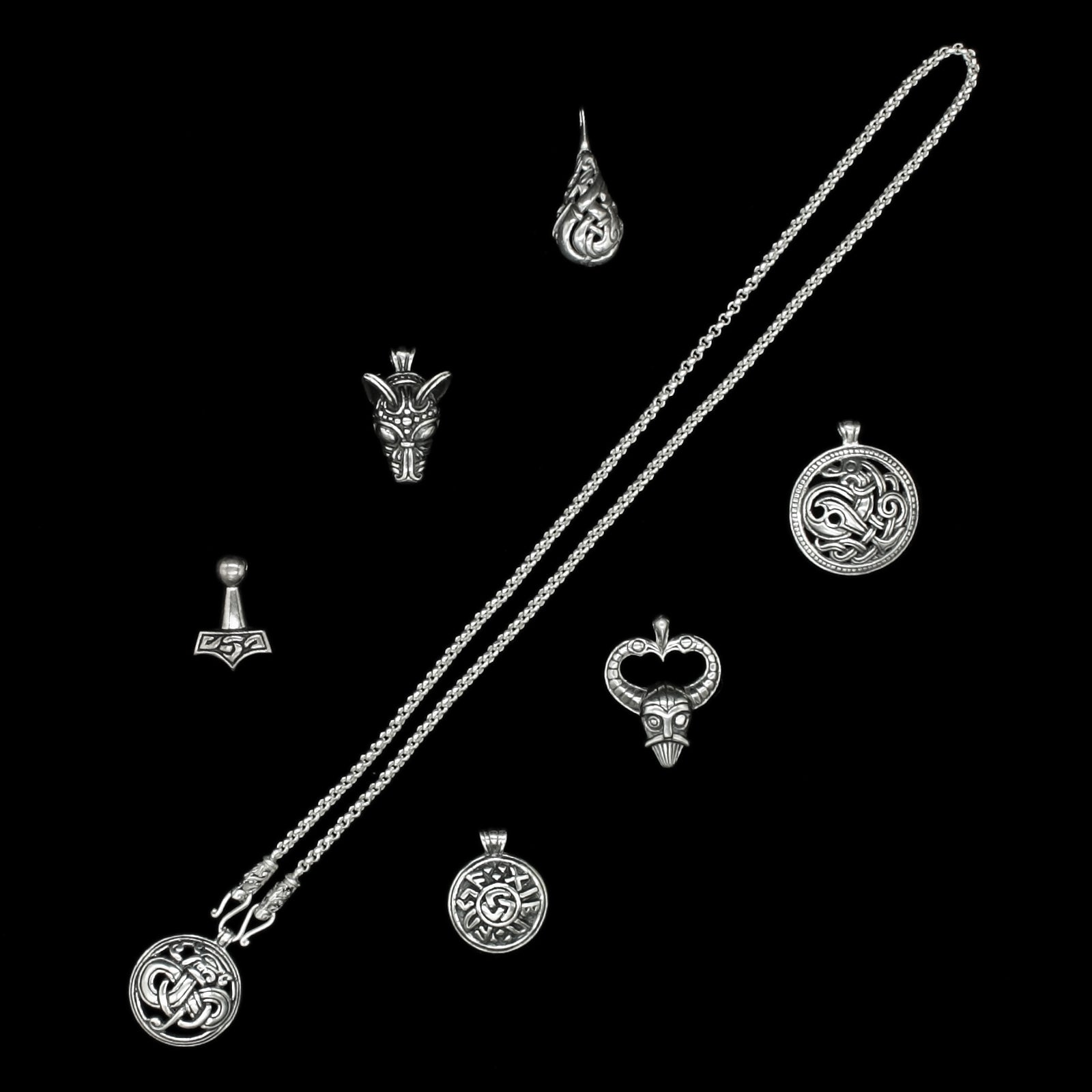 Slim Silver Anchor Chain Pendant Necklace with Gotland Dragon Heads and Choice of Silver Pendants