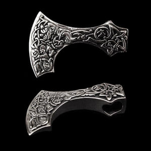 Silver Bearded Axe Head Pendant - Viking Pendants