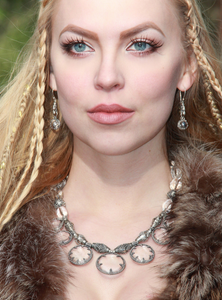 The Viking Queen - Sol - Wearing Silver 7 Lens Gotland Crystal Viking Necklace - Viking Jewelry