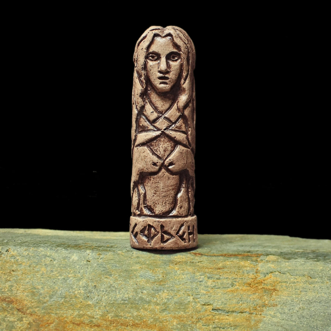 Hand-Crafted Ceramic Gefjun Statuette