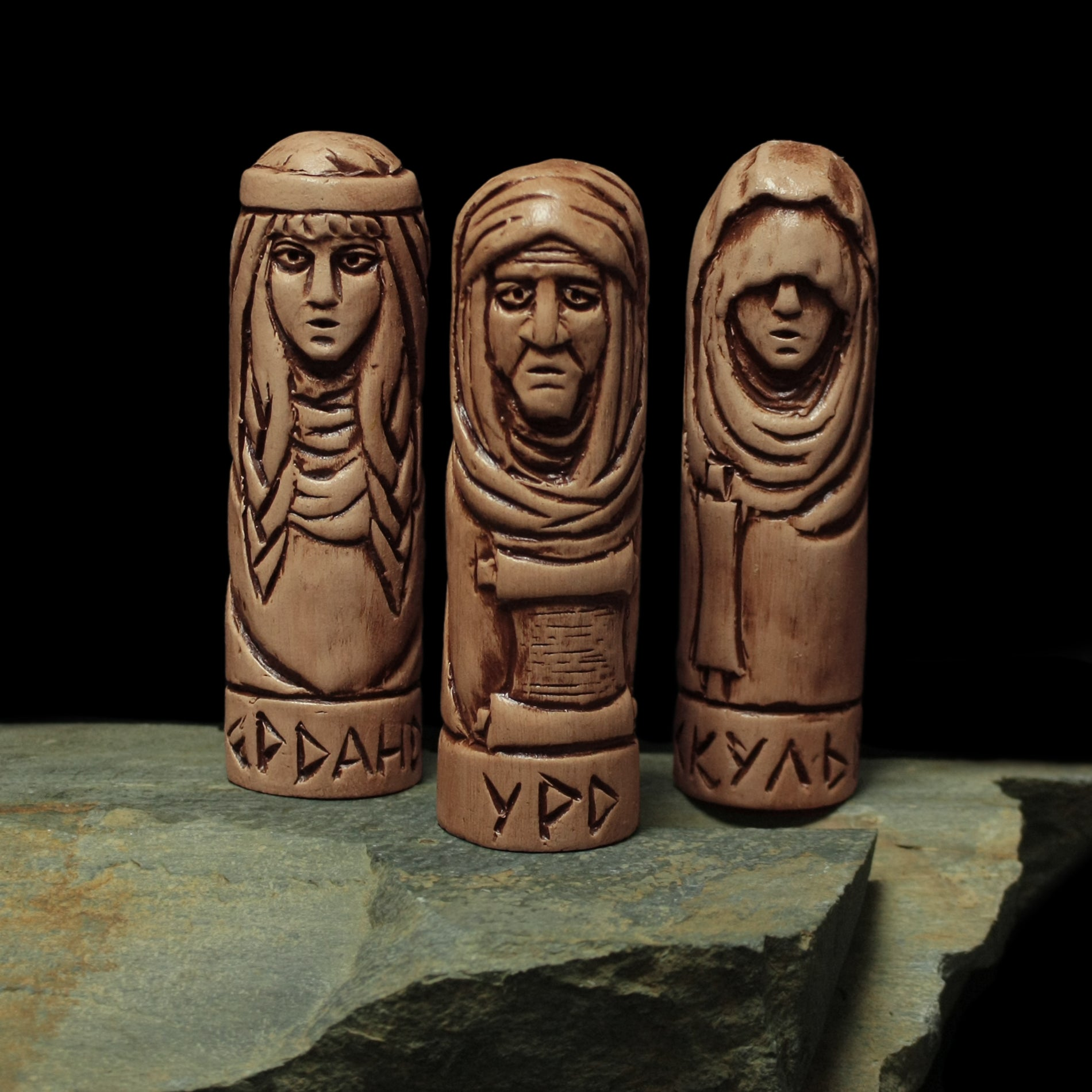 Hand-Crafted Ceramic Norns Statuettes