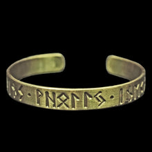 Load image into Gallery viewer, Runic Viking / Saxon Bracelet in Solid Bronze with Runic Inscription
