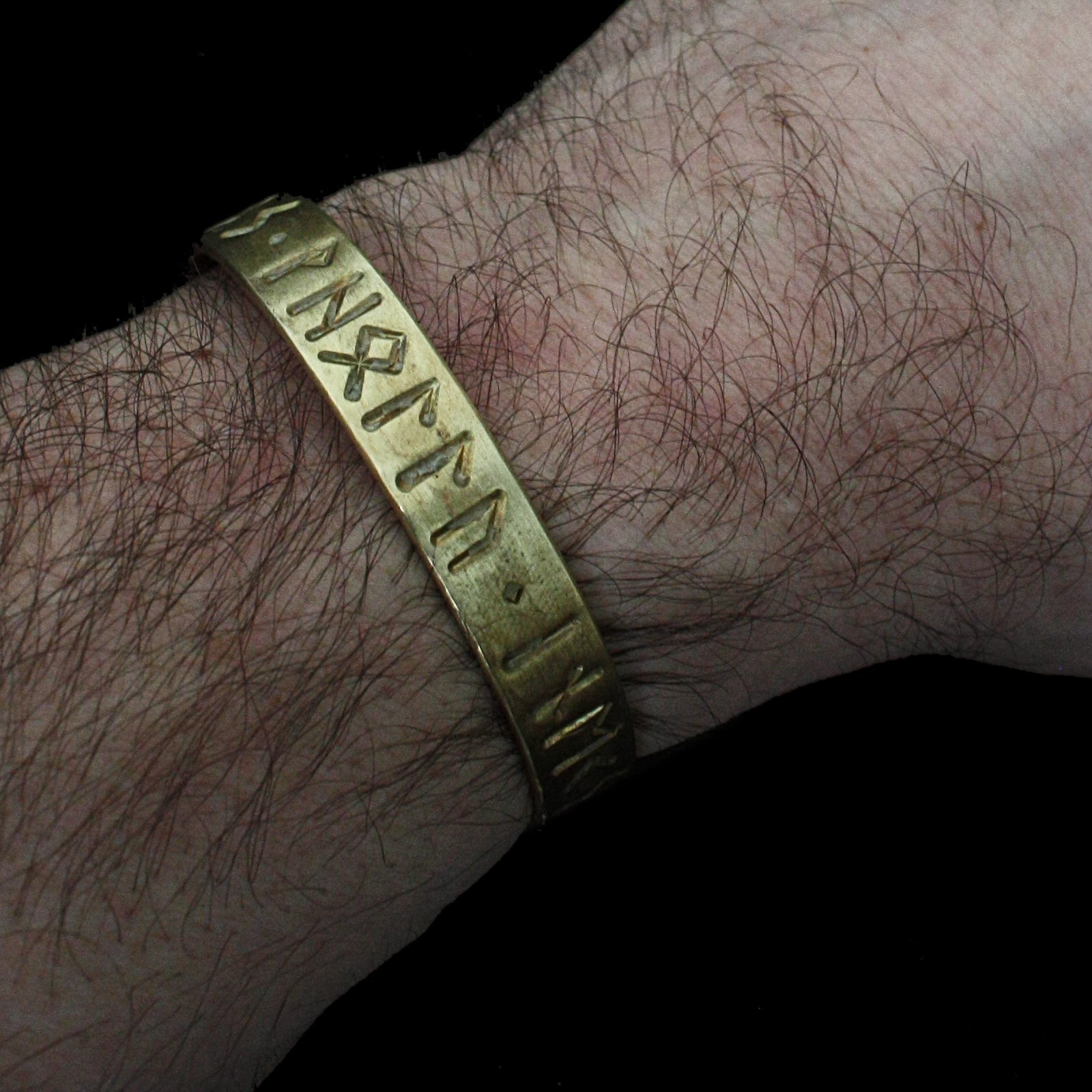 Bronze Runic Viking Bracelet Wearing - New Viking Jewelry