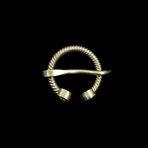 Twisted Brass Penannular Brooch / Clothes Pin