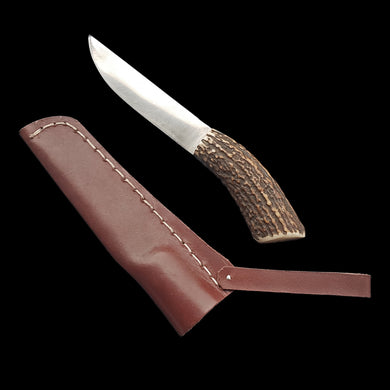 Viking Eating Knife with Antler Handle & Leather Sheath
