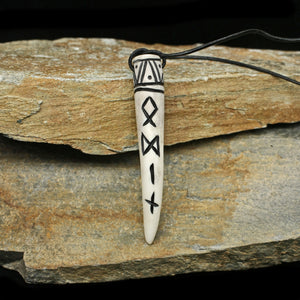 Carved Viking Pendant in Solid Antler with Odin Runes