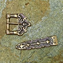 Load image into Gallery viewer, Bronze Borre Style Buckle Set - Viking Belt Fittings