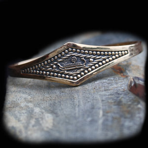 Viking Longship Bracelet in Solid Bronze on Rock  - Viking Jewelry