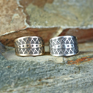 Replica Ring with Embossed Viking Design in Bronze or Silver - Viking Jewelry