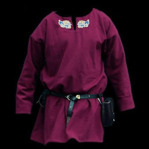 Embroidered Burgundy Wool Viking Tunic - Handmade Viking Clothing