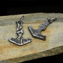 Load image into Gallery viewer, Large Hand-Forged Steel Viking Thors Hammer Pendant - Front & Back