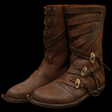 Load image into Gallery viewer, Handmade Pointed Viking Jarl Boots in Leather - Viking Footwear