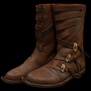Handmade Pointed Viking Jarl Boots in Leather - Viking Footwear