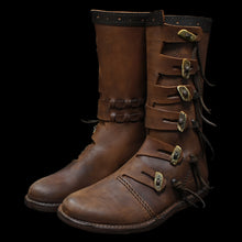 Load image into Gallery viewer, Handmade Leather Viking Jarl Boots - Viking Clothing & Footwear