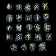 Load image into Gallery viewer, Elder Futhark Obsidian Rune Stone Set - Norse Runes