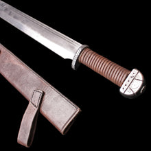 Load image into Gallery viewer, Reenactment Viking / Saxon Seax / Scramasax with Leather Fitted Sheath