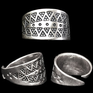 Replica Embossed Viking Ring - Silver - Viking Rings