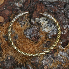 Load image into Gallery viewer, Twisted Brass Viking Raven Bracelet - Viking Bracelets