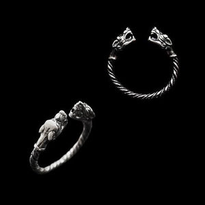 Silver Twisted Ferocious Wolves Ring - Viking Rings