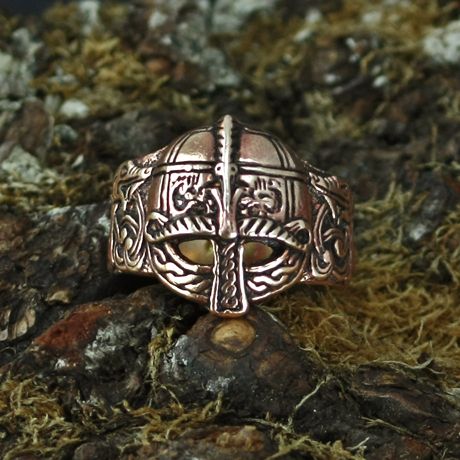 Bronze Viking Helmet Ring on Mossy Rock - Viking Rings