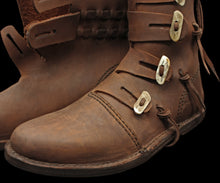 Load image into Gallery viewer, Handmade Leather Viking Jarl Boots Close Up - Viking Clothing & Footwear