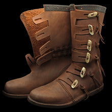 Load image into Gallery viewer, Handmade Leather Viking Jarl Boots Side & Open - Viking Clothing & Footwear