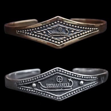 Viking Longship Bracelets in 925 Sterling Silver & Bronze - Viking Jewelry