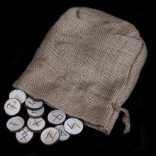 Load image into Gallery viewer, Elder Futhark Wooden Rune Set with Hessian Pouch
