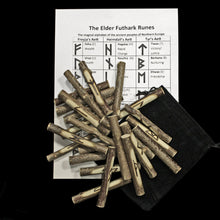 Load image into Gallery viewer, Elder Futhark Wooden Rune Stave Set with Rune Meanings & Pouch
