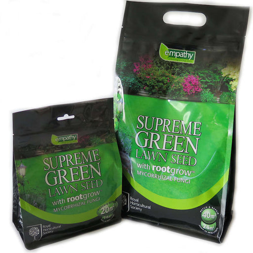 RHS Supreme Green Lawn Grass Seed with Rootgrow Mycorrhizal Fungi - 500g & 1kg