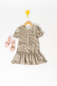 Short Sleeve Leopard Ruffle Dress